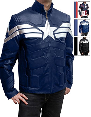 7s Costumes (Captain America Cosplay costume Leather Jacket (XL, Captain Blue))