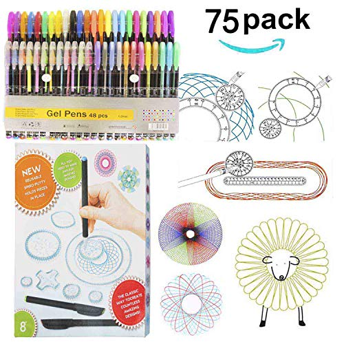 Linktor Drawing Gear Deluxe Set with 48 Colored Pens Set, Drawing Aid Art Design Training Ruler Kit for Kids Art Enlightenment (Best Colored Pens For Spirograph)