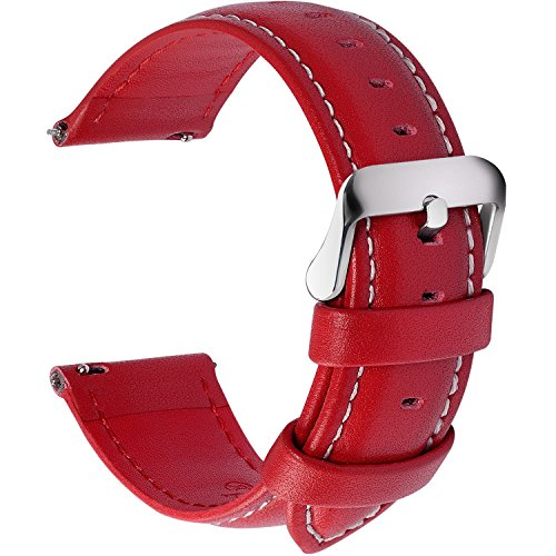 12 Colors for Quick Release Leather Watch Band, Fullmosa Axus Genuine Leather Watch Strap 22mm Red