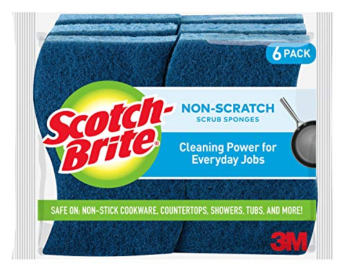 Scotch-Brite Non-Scratch Scrub Sponges, 6 Scrub Sponges, Lasts 50% Longer than the Leading National Value Brand