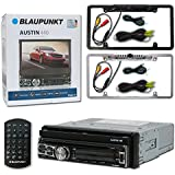 Blaupunkt Car audio 1DIN Motorized Flip out 7 Touchscreen DVD MP3 CD stereo Bluetooth + Remote & DCO Full License plate Night vision waterproof back-up camera (Optional Color)