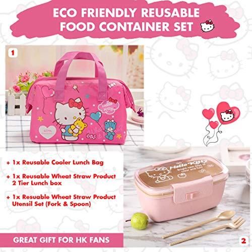 (Sanrio Japan Hello Kitty Merchandise : Eco Friendly Reusable Food Container Set - Cooler/Warmer Lunch Bag, Cute Lunch Box with Wheat Straw Spoon and Fork Set (Pink))