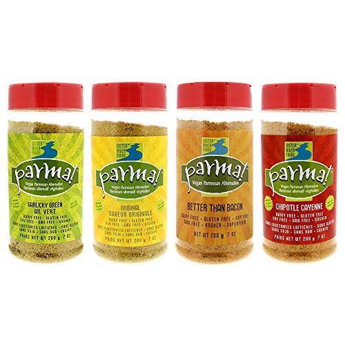 Parma! Vegan Parmesan - 4 Flavor Variety, Dairy-Free, Soy-Free, and Gluten-Free Cheese, Vegan, Plant-Based Superfood (7 oz, Pack of 4)