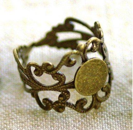 Femitu 20PCS Antiqued Bronze Adjustable Filigree Ring Blanks 18mm