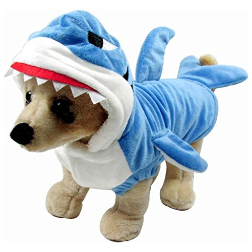 AISION Adorable Blue Shark Jaws Pet Costume Festival Dress Clothing Halloween Outfit Hoodie Coat for Dogs and Cats -