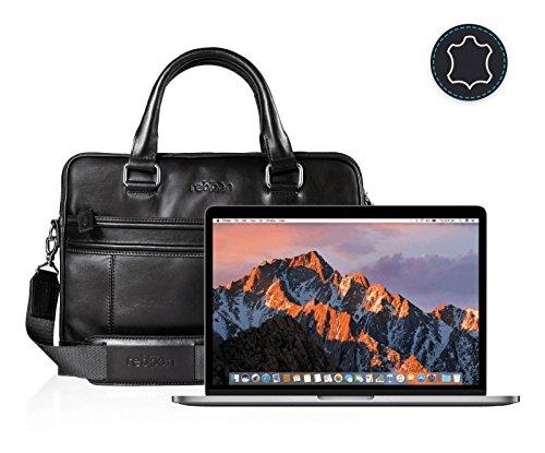 reboon Echt-Leder Laptop-Tasche in Schwarz Leder für APPLE MPXV2D 13 3 | 13 Zoll | Notebooktasche Umhängetasche | Damen/Herren - Unisex | Premium Qualität Schwarz Leder