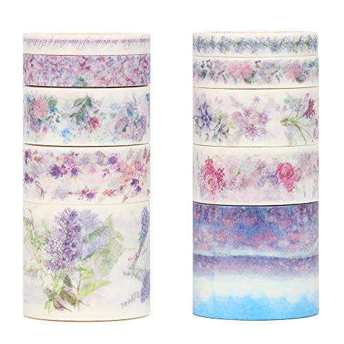 Molshine Floral Washi Masking Tape Set of 10 (lenght:3m/roll), Spring Flower Decorative Sticky Paper Tapes for Diy Craft, Gift Wrapping, Bullet Journal, Planner, Scrapbooking (C)