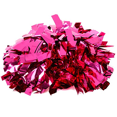 6 Inch Stevige Metallic Dance En Cheer Athletic Pom Hot Pink