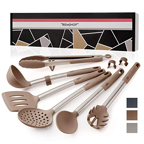 REMIHOF Silicone Kitchen Utensil Set - Nonstick Silicone and Stainless Steel Cooking Utensils - Spatula Turner Ladle Pasta Server - Best Culinary Gift Set (6pcs, Beige)