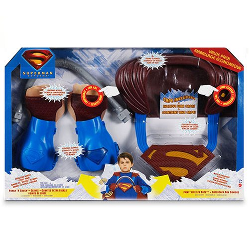 (Superman Role Play Value Pack - Punch N' Crush Gloves - Fight N' Fly Cape - B...)