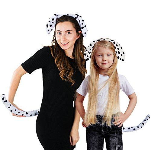 Funny Party Hats Dalmatian Ears - Dog Ears and Tail - 2 Pc Set - Ears and Tail Costume - Dalmatian (Dalmation Dog Costume Ears)