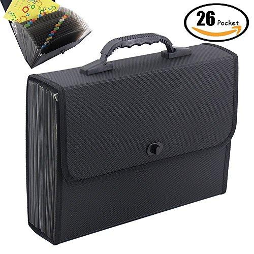 Oak-Pine 26 Pockets Expanding File Folder - Large Plastic A4 US Letter Size Expandable File Organizer Self Document Accordion File Folder Wallet Briefcase Business Filing Box with Handle ()