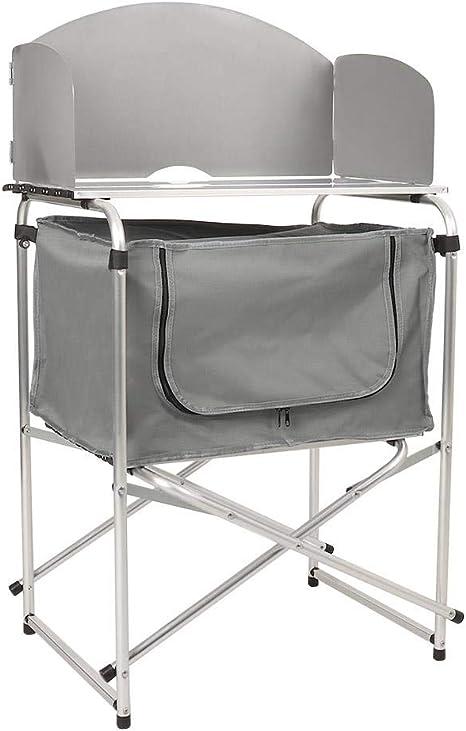 Wido - Estantería de cocina para camping con parabrisas, estantes de almacenamiento, estufa, quemador de gas, armario de despensa