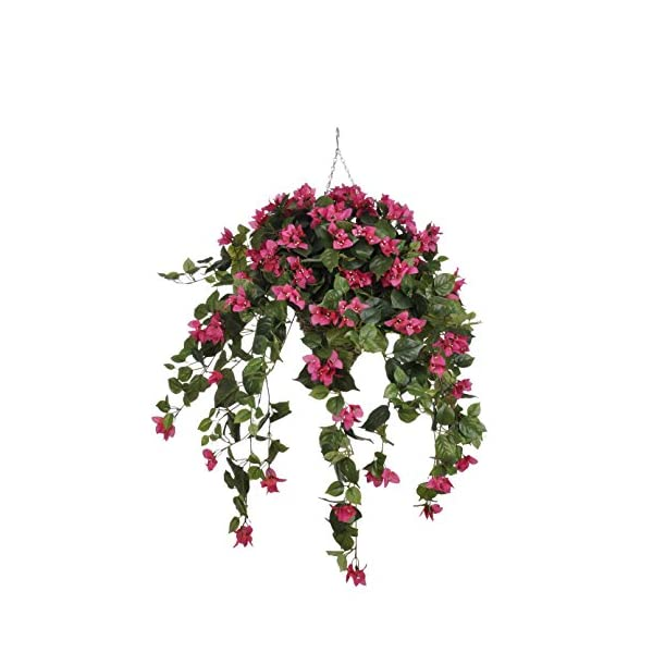 House of Silk Flowers Artificial Pink Bougainvillea in Cone Hanging Basket