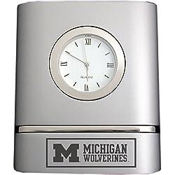 University of Michigan- Two-Toned Desk Clock -Silver