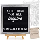 "10x10 Inch Rustic Black Felt Letter Board | Changeable Letter Board w/340 ¾"" + 1""Letters & Unique Cursive Words 