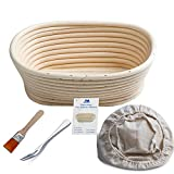 "Banneton Proofing Basket 8"" Oval Banneton Brotform for Bread and 500g Dough [FREE BRUSH] Proofing Rising Rattan Bowl + FREE LINER + FREE BREAD FORK"