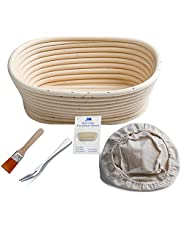 """Banneton Proofing Basket 8"""" Oval Banneton Brotform for Bread and 500g Dough [Free Brush] Proofing Rising Rattan Bowl + Free Liner + Free Bread Fork"""