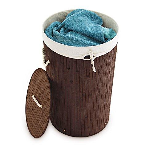 Relaxdays Wäschekorb Bambus rund Ø 41 cm, 65 cm hoch cm faltbare Wäschetruhe mit einem Volumen von 80 Litern mit Wäschesack aus Baumwolle zum Herausnehmen für Ecken und Nischen im Badezimmer, braun