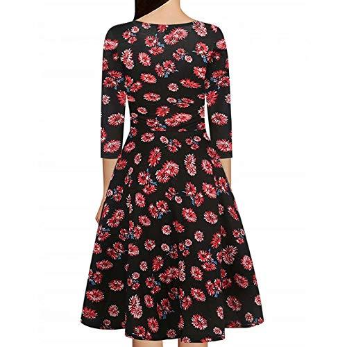 Burgundy Sleeve Women's Stretch Cap Work Criss Party V F Dress Casual Summer Cross Swing Dress Necklines Floral Neck wvUaYvrqx