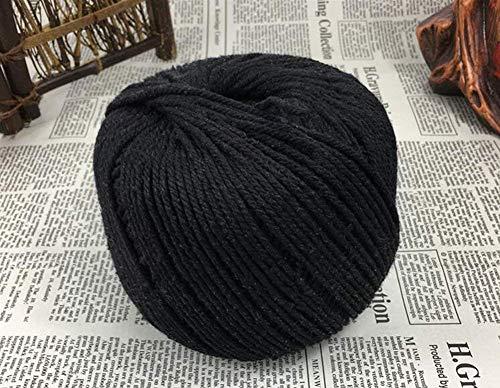 Ialwiyo Handmade Decorations Natural Cotton Bohemia Macrame DIY Wall Hanging Plant Hanger Craft Making Knitting Cord Rope Color 3mm Dia 328 Feet Macramé Cord (Black)