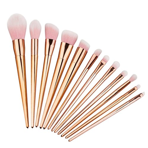 ABC 12PCS Make Up Foundation Eyebrow Eyeliner Blush Cosmetic Concealer Brushes (Rose Gold)