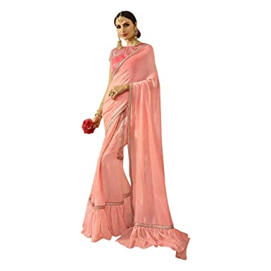 9723cee833e00c Amazon.com: Indian Ethnic Ruffle Border Saree With Blouse Hit Trendy Party Wear  Sari Collection 7370: Clothing