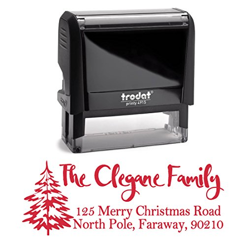 Red Self Inking Stamp Christmas Tree Style Return Address Mail Stamper Custom Personalized Address Large Size 3 Lines Professional Wedding Gift Invitation Branding by Pixie Perfect Stamps