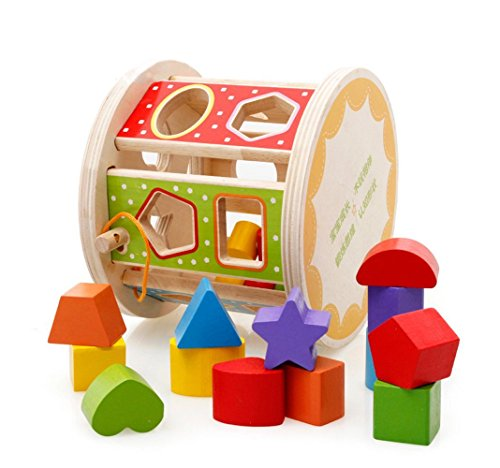 iPuzzle Geometrical Rolling Pull Along Wooden Shape Sorter Toy Set for Kids and Toddlers