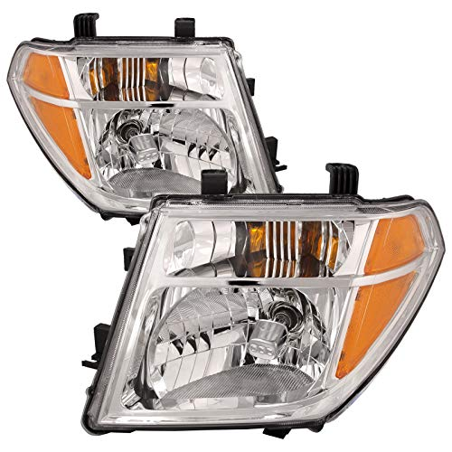 HEADLIGHTSDEPOT Chrome Housing Halogen Headlights Compatible with Nissan Frontier Pathfinder Includes Left Driver and Right Passenger Side Headlamps ()