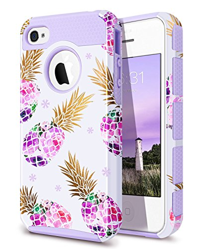 Fingic iPhone 4 Case,iPhone 4S Case Pineapple, Purple Pineapple Case Hard PC&Soft Rubber Protective Case Cover for for iPhone 4/4S/4G,Pineapple/Purple (The Best Iphone 4s Cases)