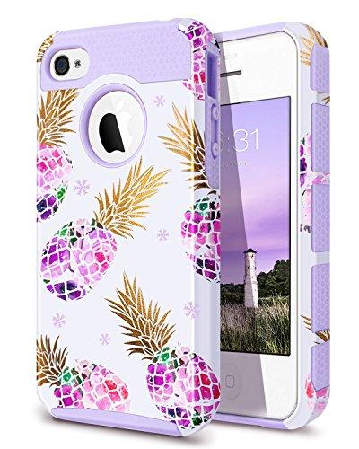 iPhone 4 Case,iPhone 4S Case Pineapple,Fingic Purple Pineapple Case Hard PC&Soft Rubber Protective Case Cover for for iPhone 4/4S/4G,Pineapple/Purple