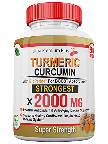 Super Strength 2000mg – Turmeric Curcumin with BioPerine (Black Pepper) Extract. 120 Fast Acting Pills – Natural Anti…