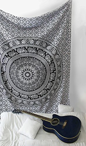 SheetKart Tapestry, Elephant Tapestry, Tapestry Wall Hanging, Hippie, Tapestry Mandala, Tapestry Boho College Dorm Beach Throw Wall Art Decor Bohemian - Black and White