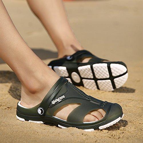 Xing Lin Sandalias De Mujer Verano Nuevo Tipo De Frenos Ahuecado Masculino Zapatillas Cool Baotou Playa Cueva Grande Baño Zapatos Sandalias De Código Military green