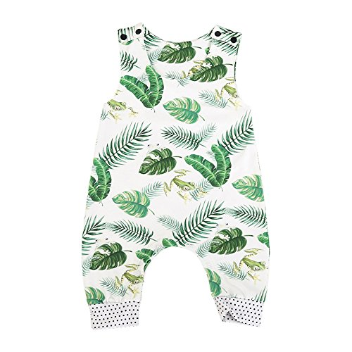 Infant Baby Boys Girls Sleeveless Animal Romper Jumpsuit Summer Playsuit Outfit (White+Green, 6-12 Months) (Animal Romper)