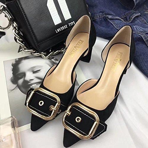 tacón mujer solo alto de de con y de Black y zapatos Luz Qiqi satén gruesa punta partido Xue parte sandalias de los un para zapatos Tie 39 PE16vnxEq