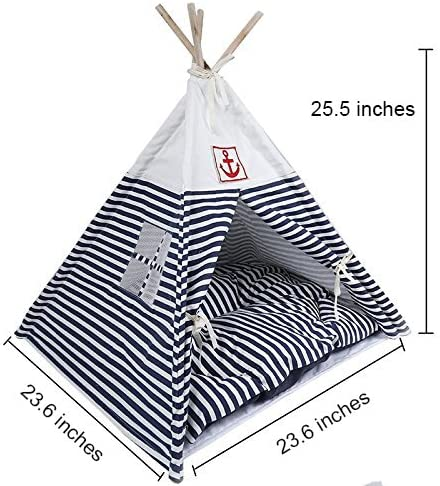 7Life Small Cat Dog Pet Portable Teepee House Tent Bed Blue Red Stripe House with Bed Mat Breathable Washable blue