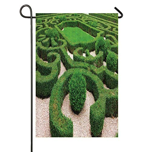 (HOOSUNFlagrbfa Photo of Symmetric Complexity Garden Park Topiary Shrub on Gravels Seasonal Garden Flags Bright and Shine Small Holiday Yard Flags)