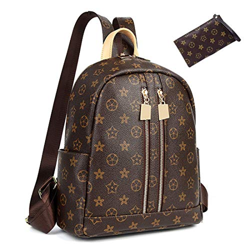 ZUNIYAMAMA Casual Purse Fashion School Leather Backpack Crossbady Shoulder Bag Mini Backpack for Women & Teenage Girls BLACK BROWN