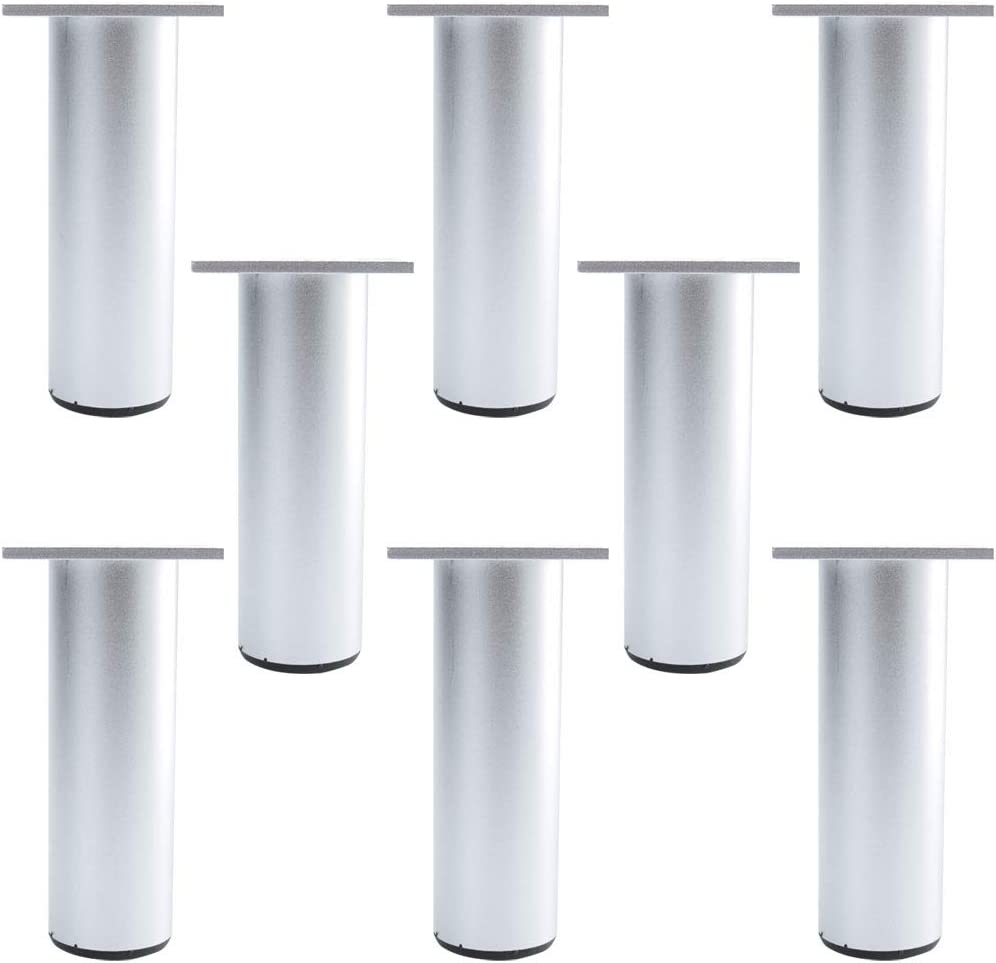 uxcell 5 Inch Round Furniture Legs Aluminium Alloy Sofa Couch Table Cabinet Wardrobe Worktop Shelves Feet Replacement Height Adjuster Set of 8