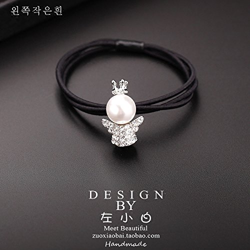 South Korea sends the rope circle crown cute angel doll cartoon villain pearl diamond Tousheng rubber band hair accessories personality for women girl lady