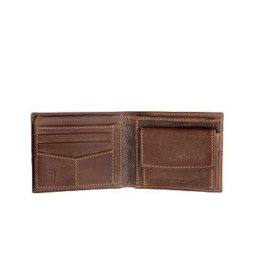 5e3164d742 Portefeuille pour Homme en Cuir Vieilli Classique avec Porte-Monnaie DUDU  Brun foncé