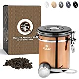 vent coffee - OPUX Coffee Canister | Coffee Jar, Airtight Coffee Bean Container with Vacuum Seal | Stainless Steel Coffee Ground Vault Jar with One Way CO2 Release and Scoop (Medium 16 oz Copper)