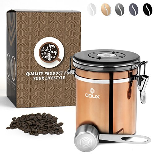 OPUX Coffee Canister | Coffee Jar, Airtight Coffee Bean Container with Vacuum Seal | Stainless Steel Coffee Ground Vault Jar with One Way CO2 Release and Scoop (Medium 16 oz Copper) by OPUX