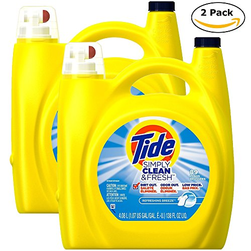 Tide Simple Clean Fresh Liquid Laundry Detergent, 138 Ounce (4.08 L), Refreshing Breeze (2pack 138 Ounce) (Tide Laundry Detergent Baby)