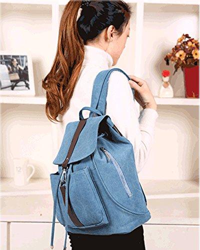 Minetom Lona Backpack Mochilas Escolares Mochila Escolar Casual Bolsa Viaje Moda Estilo De La Señora Mujer Cielo Azul