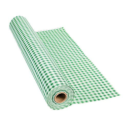 Green Gingham Tablecloth Roll - Party Supplies - Table Covers - Print Table Rolls - 1 Piece
