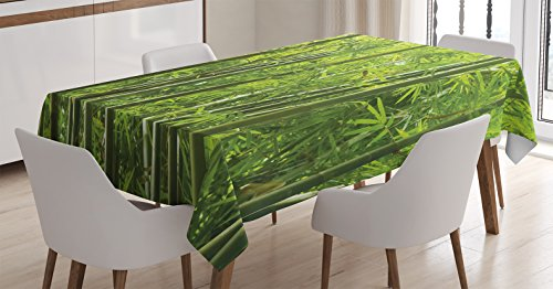 (Ambesonne Bamboo Decor Tablecloth, Exotic Tropic Bamboo Forest with Fresh Color Asian Nature Wildlife Trees Leaves Print, Rectangular Table Cover for Dining Room Kitchen, 52x70 Inch, Light Green)