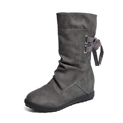 f3bdfb96faa3 NEOKER Bottes Souple Femme Plate Compensées Talon Elastique Bottines Cuir  Boots Haute Semelle Augmenter 3 cm